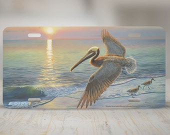 """5389-""""Evening Traffic"""" Pelican front license plate, beach car license plate, license plate, cute license plate, front car tag, auto tags"""