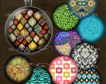 Patterns and Designs- One Inch Round- Instant Download Digital Collage Sheet for Pendants, Magnets, Bottle Caps, Paper Crafts