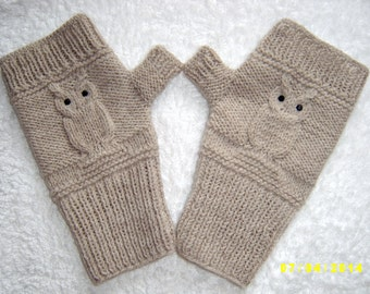 Owl fingerless gloves Owl fingerless mittens Grey and beige fingerless gloves with black crystals