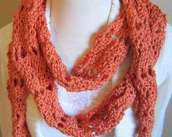 Crochet Scarf,Pumpkin Color Scarf,Scarf,Skinny Scarf,Extra Long Scarf,Summer Scarf,Fashion Scarf,Winter Scarf,Winter Fashion,Women Fashion