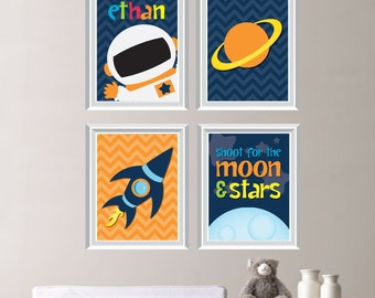 Outer Space Nursery Art Prints. Outer Space Decor. Outer Space Bedroom Art. Astronaut Nursery Art. Astronaut Bedroom Art. Canvas. (NS-215)