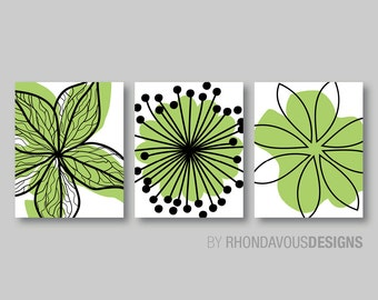 Lime Green Black Flower Print Trio - Home Petals Bloom Wall Art Bedroom Nursery Bathroom Bath Dining -You Pick the Size & Colors (NS-353)