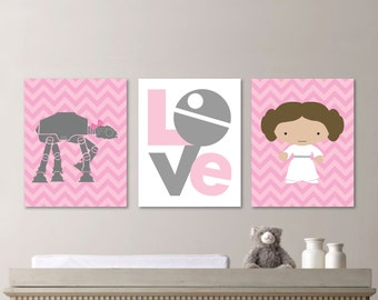 Baby Girl Nursery Print Art - Chevron Art - Star Wars Nursery Decor - Star Wars Nursery Art - Leia - Pink Gray - You Pick the Size (NS-473)