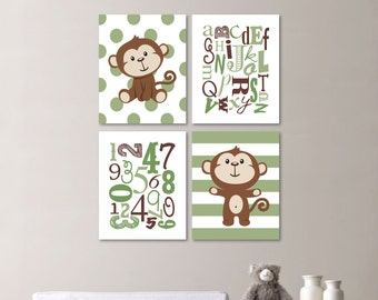 Baby Boy Nursery Art - Monkey Nursery - Monkey Bedroom - Monkey Decor - Monkey Art - Monkey Print - Alphabet - Green Brown (NS-562)