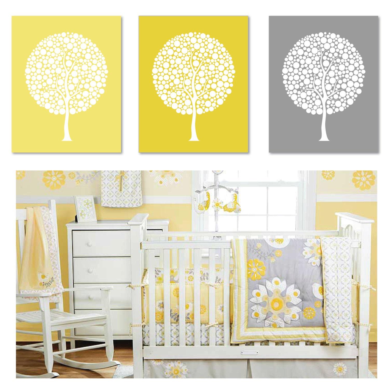 Modern tree trio nursery art decor wall art home - Modern nursery wall decor ...