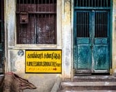 Yellow sign - Teal door - India - Travel photography