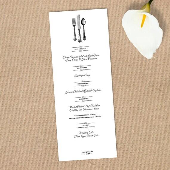 articles similaires imprimable de mariage mari e vintage menu menu de mariage diy menu. Black Bedroom Furniture Sets. Home Design Ideas
