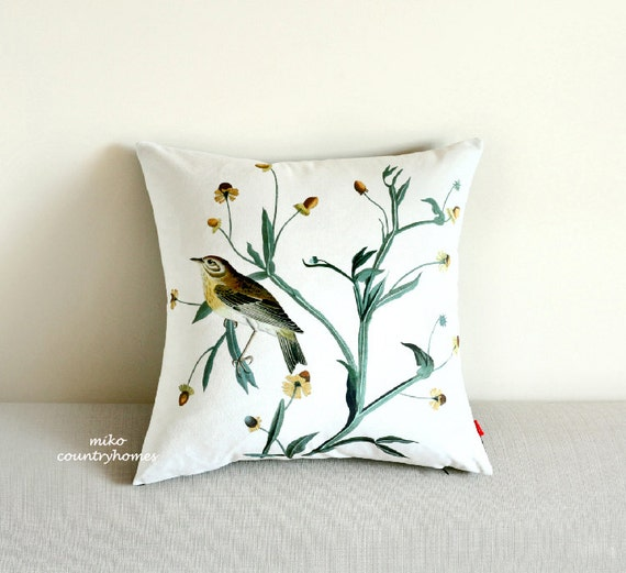 Throw Pillow Cover Vintage Bird Print 47x47cm by MikoCountryHomes