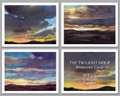 The Twilight Hour -  Set of 6 NOTE CARDS - Watercolor Paintings by Linda Henry (NCWC048)