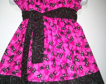 Baby Infant Girls Halloween Fall Witch Black Cat Boutique Peasant Dress Outfit! 3 6 9 12 18 24 Months