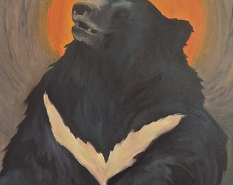 Original Oil Painting, Asian Sun Bear with Sun framing the bear's head, oil on stretched canvas