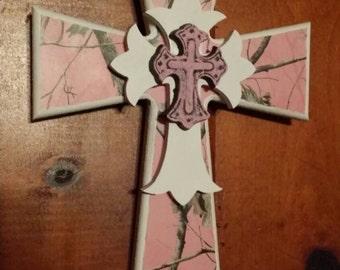 Pink camo handmade cross