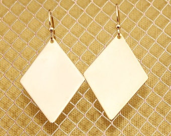 Gold Plated, Simple Diamond Shaped Charm, Earring
