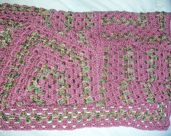"""Handmade Crochet Afghan Blanket 41"""" x 50"""" Rose Garden Granny Stitch Blanket, Variegated Greens and Pinks, Chair Cover Throw, Lap Afghan Rose"""