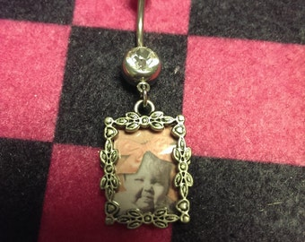 real photo frame belly ring