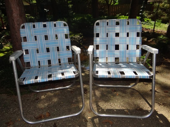 Sunbeam Retro Aluminum Folding Lawn Chair Blue White Webbing