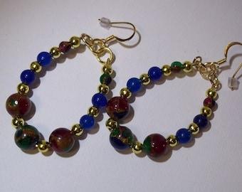 Earrings Casual Loop Earrings Semi Precious Bead Earrings Lapiz Earrings Blue Earrings.