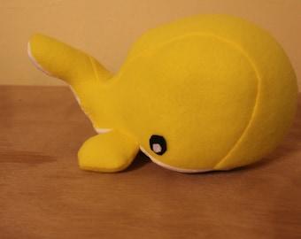 Yellow fleece stuffed whale/nursery decor
