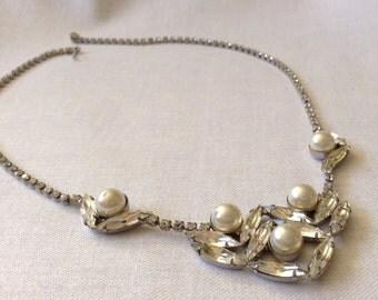 1960's Vintage Rhinestone Necklace, 17 Inch