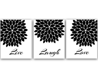Live Laugh Love Black And White Quote Print Flower Burst Artwork Bedroom Wall