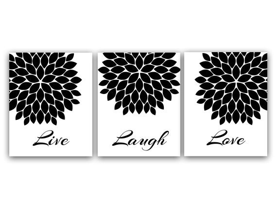Live laugh love black and white quote print flower burst for Black and white mural prints