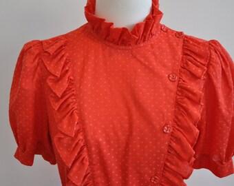 Fabulous 70's Red Ruffle Cotton Dress