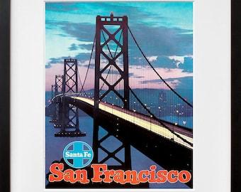 Art Print San Francisco Golden Gate Bridge Vintage Travel Poster (TR87)