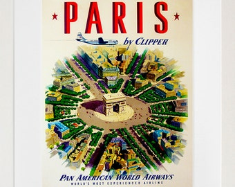 Art Paris Travel Poster France Print Vintage (ZT225)