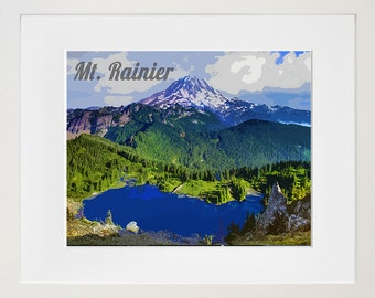 Mt. Rainier National Park Poster Travel Art Print Home Decor (ZB10)