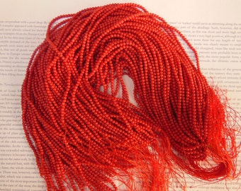 3mm red coral beads, round, 15.5 inch
