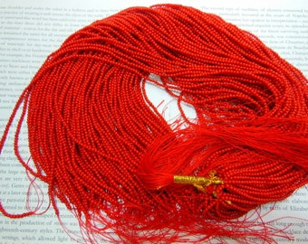 "2.5mm red coral beads, round, 15.5"" strand long"