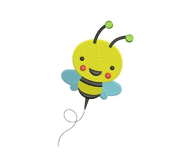 Cute little bumble bee machine embroidery design filled
