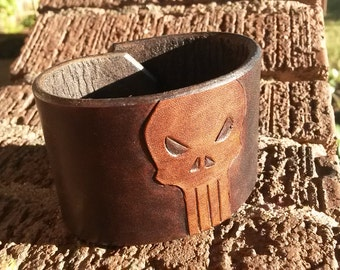 Classic Punisher Leather Cuff