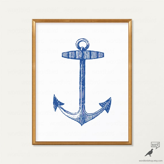 Navy bathroom wall decor : Items similar to vintage navy blue anchor wall art
