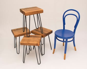 Reclaimed wood beam stools steel hairpin legs