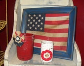 Red White and Blue 3 Piece Set, Painted Ball Jar, Vintage Frame, Vintage Flag, USA, Vintage Ball Jar, SCOFG