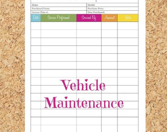 printable maintenance log