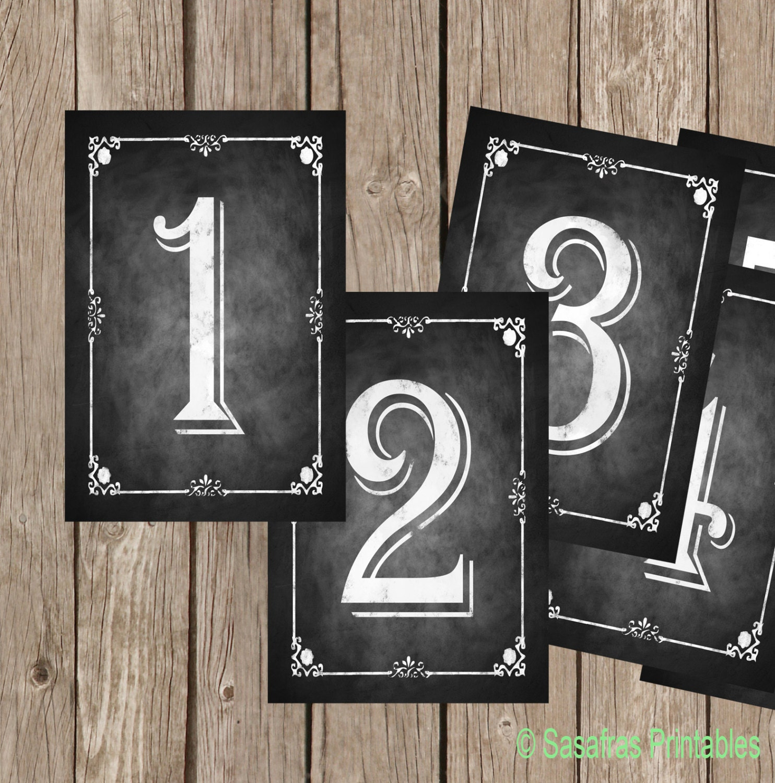 chalkboard table numbers ~ diy printable table numbers chalkboard style 5×7 set of