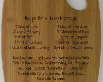 Personalized Cutting Board, Bamboo Cutting Board, Wedding Present, Recipe for a Happy Marriage Cutting Board