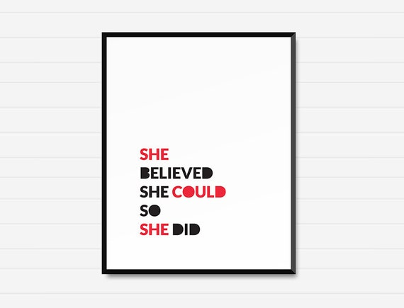She Believed She Could - Printable Wall Art  - Minimalist Decor - Instant Download