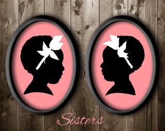 2 Traditional Profile Silhouettes, Twin Sisters Silhouette, Silhouette from your photo, Kids Room Decor, Silhouette Art Silhouette Portrait.