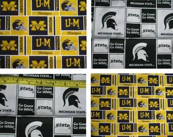 U of M  Go Green Go White Michigan state University logo DORM ROOM Yellow Green Navy Blue Valance