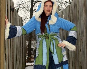 "Custom Fairy Coat Blues and Greens ""Key to Happiness"""