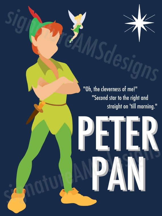 Minimalist Digital Artwork of Disney CHARACTERS - Peter Pan & Tinkerbell. (11.7x16.5 inches / A3)