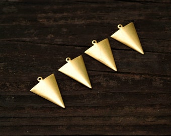 4 pcs Gold Geometric Triangle Pendants, Made in the USA