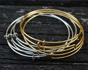 Expandable Adjustable Antiqued Gold Brass Rose Gold Bangles, 1pc