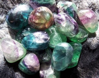 Tumbled Fluorite, Premium Quality, Crystal Grid, Chakra, Sacred Space, Altar, Reiki, Meditation, Pagan!