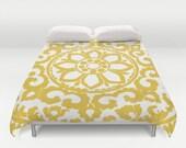 Yellow Art Deco Flower Medallion Modern Duvet Cover - Abstract Flower - Mustard Yellow - Queen Size Duvet Cover - King Size Duvet Cover