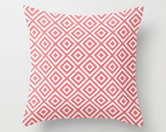 Diamond Pattern Geometric Pillow with insert - Coral Pink -  Modern Throw Pillow - Home Decor -