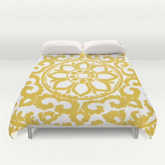 yellow art deco flower medallion modern duvet cover abstract. Black Bedroom Furniture Sets. Home Design Ideas